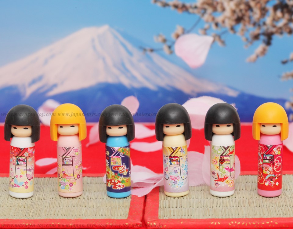 (IWAKO)-made in JAPAN-Kokeshi Doll Erasers(Colors/Designes/Assortments may changed without Notice)