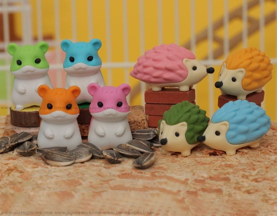 (IWAKO)-made in JAPAN-Hamster & Hedgehog(Colors/Designes/Assortments may changed without Notice)