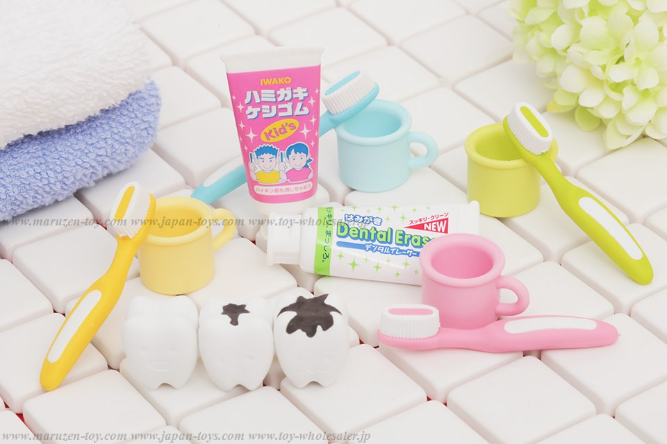 (IWAKO)-made in JAPAN-Toothbrushing Erasers(Display Box can be changed)