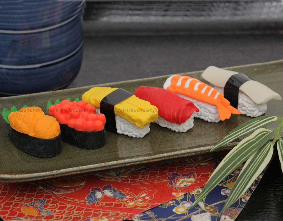 (IWAKO)(ER-951021)-made in JAPAN-SUSHI Erasers(Display Box can be changed)