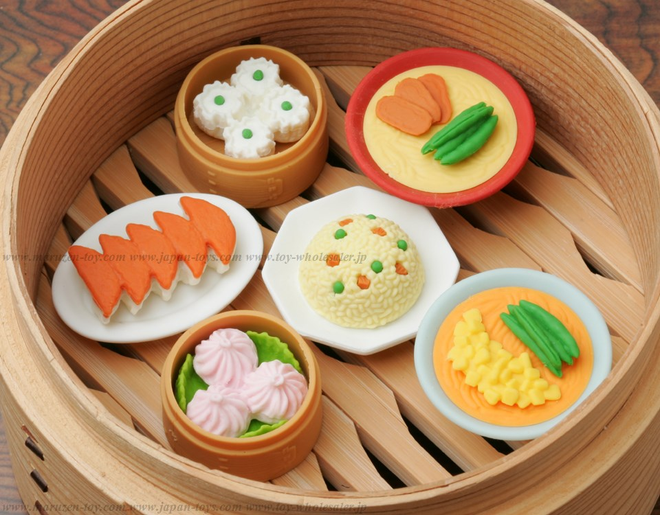 (IWAKO)-made in JAPAN-Chinese food Erasers(Display Box can be changed)