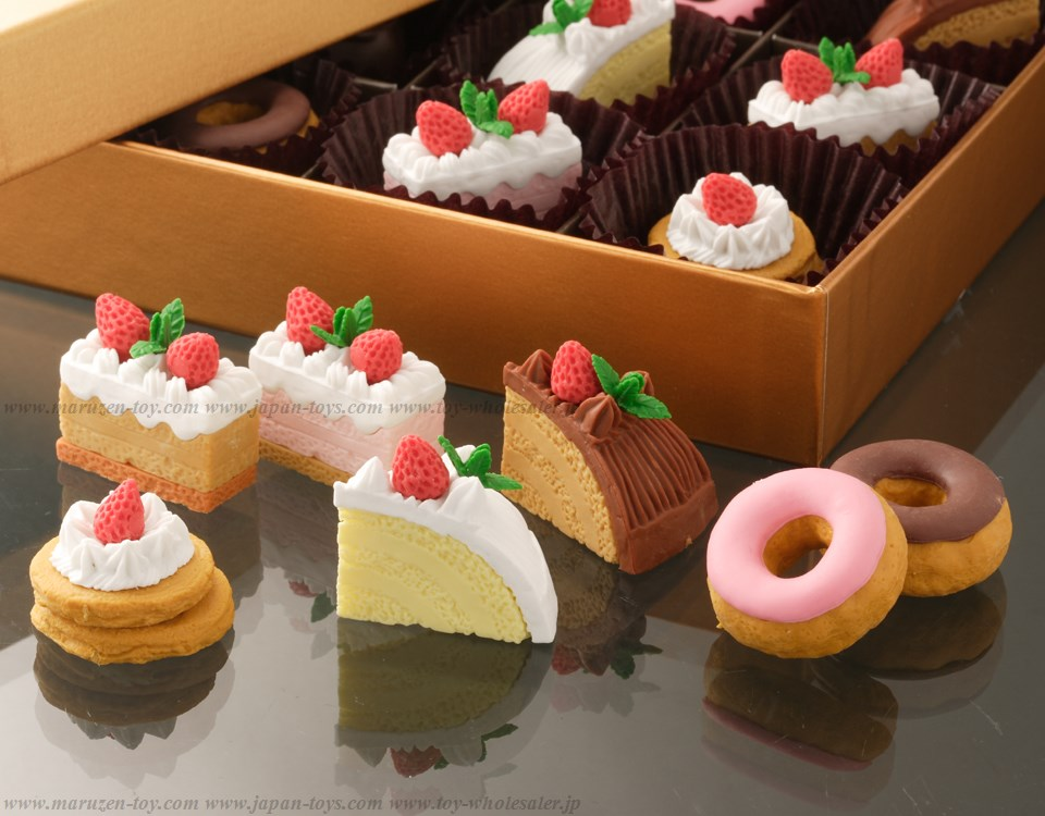 (IWAKO)-made in JAPAN-No.1Cake Erasers(Colors/Designes/Assortments may changed without Notice)