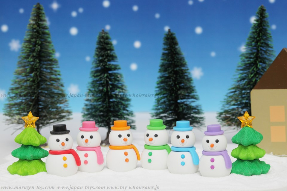 (IWAKO)-made in JAPAN-Snowman Erasers(Colors/Designes/Assortments may changed without Notice)