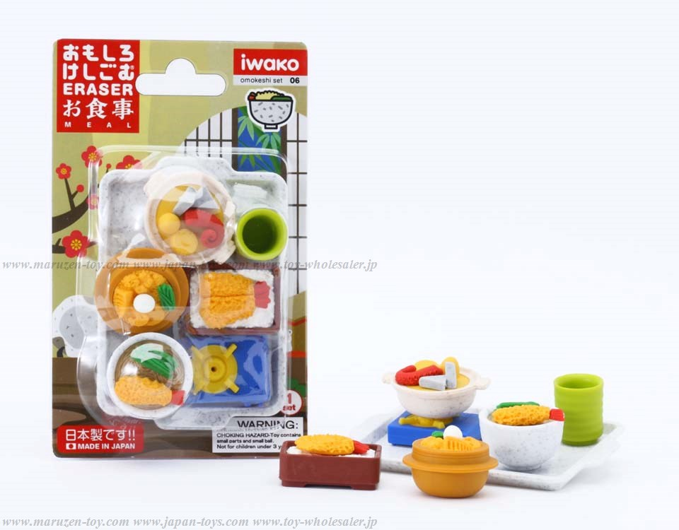 (IWAKO)(ER-981035)-made in JAPAN-Blister Pack Erasers Meal Erasers(Colors/Designes/Assortments may changed without Notice)