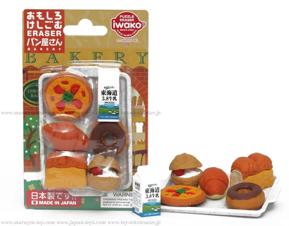 (IWAKO)-made in JAPAN-Blister Pack Erasers Bakery Erasers(Colors/Designes/Assortments may changed without Notice)