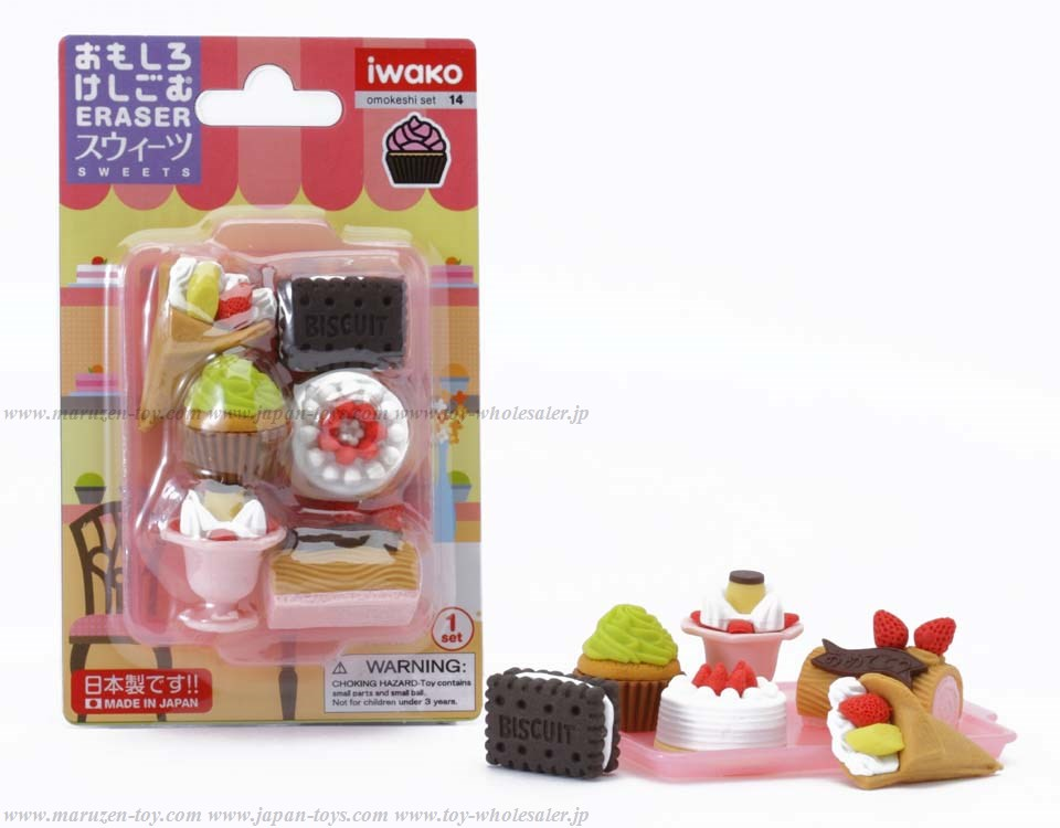 (IWAKO)-made in JAPAN-Blister Pack Erasers Sweets Erasers(Colors/Designes/Assortments may changed without Notice)