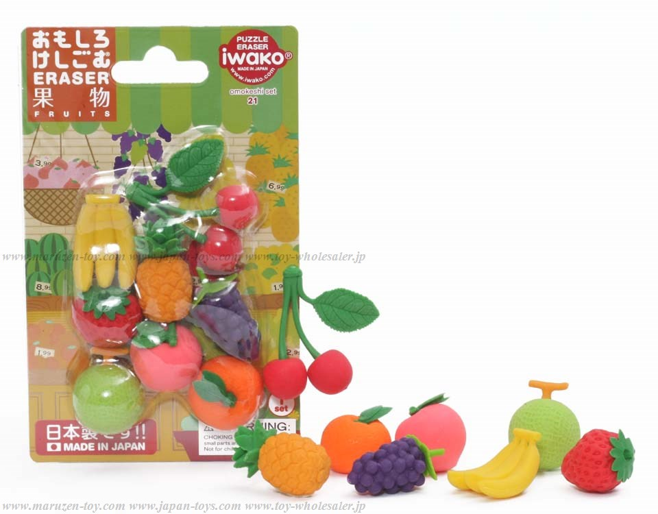 (IWAKO)-made in JAPAN-Blister Pack Erasers Fruits Erasers(Colors/Designes/Assortments may changed without Notice)