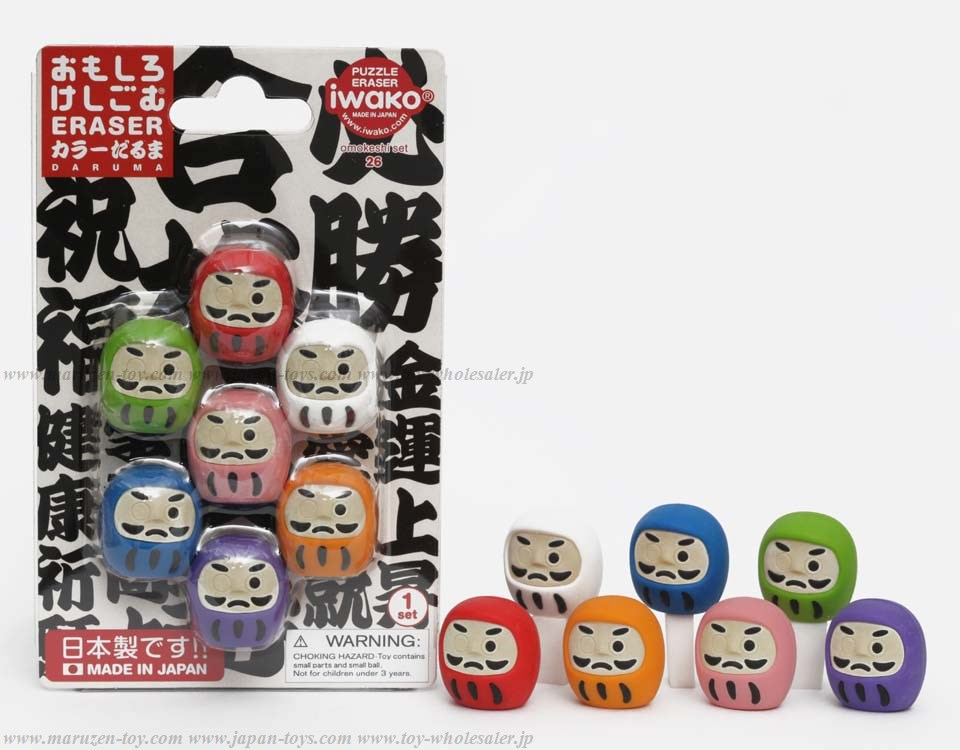 Daruma Erasers in blister -Iwako Made in Japan- (Colors/Designes/Assortments may changed without Notice)