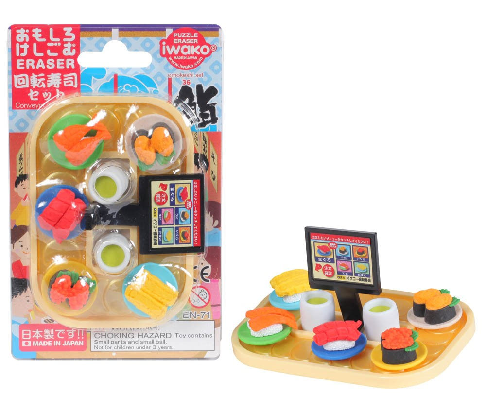 (IWAKO)-made in JAPAN-Blister Pack Erasers Conveyor Belt Sushi Erasers(Colors/Designes/Assortments may changed without Notice)