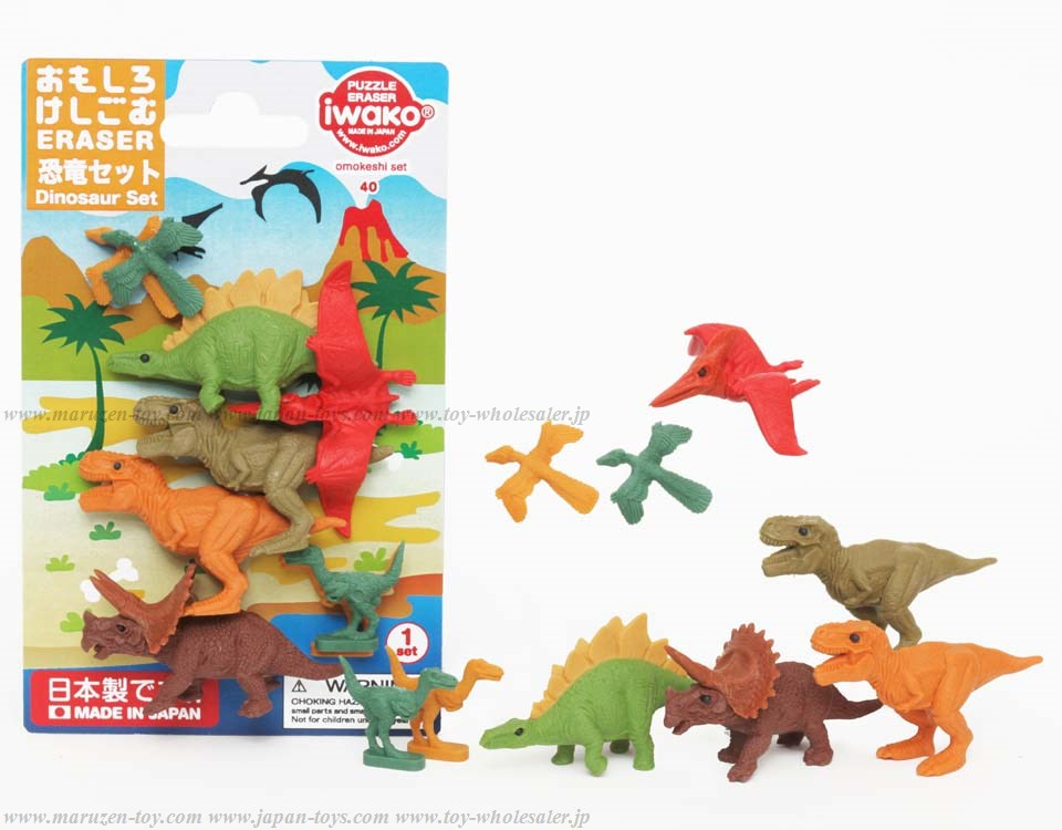 Dinosaur Set Erasers in blister -Iwako Made in Japan- (Colors/Designes/Assortments may changed without Notice)