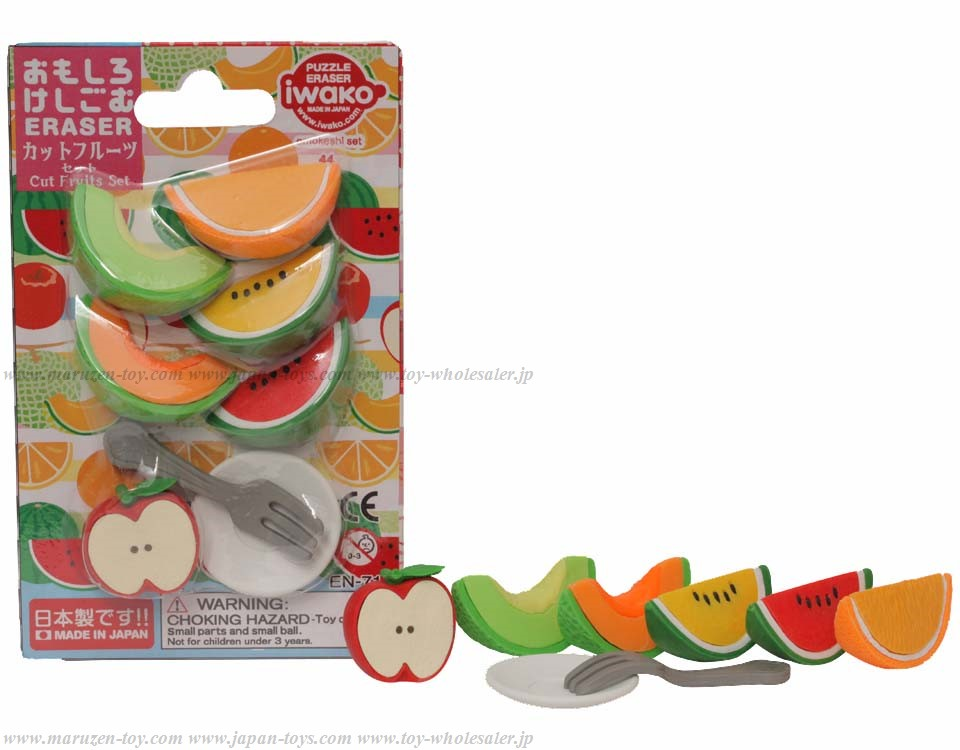 (IWAKO)-made in JAPAN-Blister Pack Erasers Iwako Cut Fruits Set(Colors/Designes/Assortments may changed without Notice)