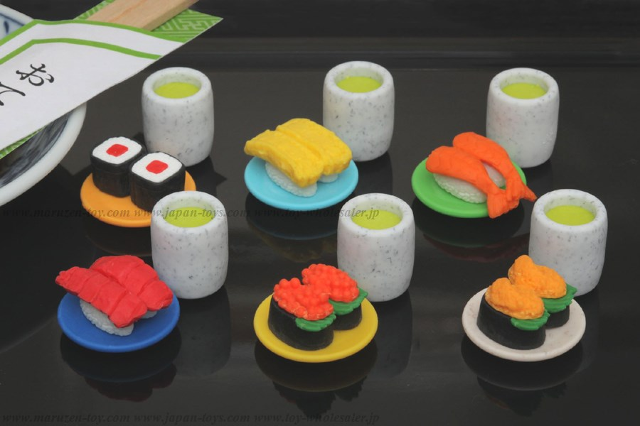 (IWAKO)-made in JAPAN-Kaiten Sushi Erasers(Colors/Designes/Assortments may changed without Notice)