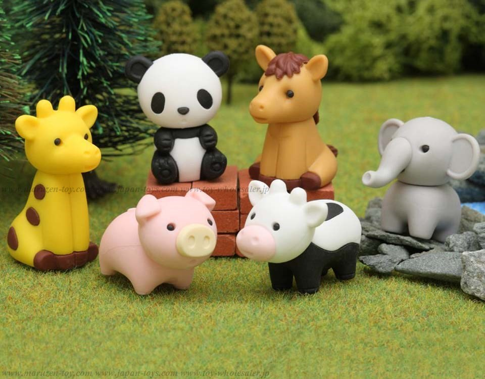 (IWAKO)-made in JAPAN-Animal Zoo Erasers