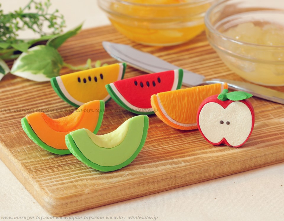 (IWAKO)-made in JAPAN-Iwako Cut Fruits Erasers(Colors/Designes/Assortments may changed without Notice)