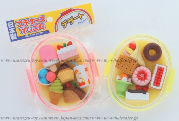 (IWAKO)-made in JAPAN-Erasers in Petit Case - Dessert(Colors/Designes/Assortments may changed without Notice)