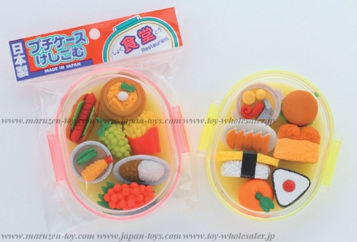 (IWAKO)(ER-PUC 002)-made in JAPAN-Erasers in Petit Case - Buffet(Colors/Designes/Assortments may changed without Notice)