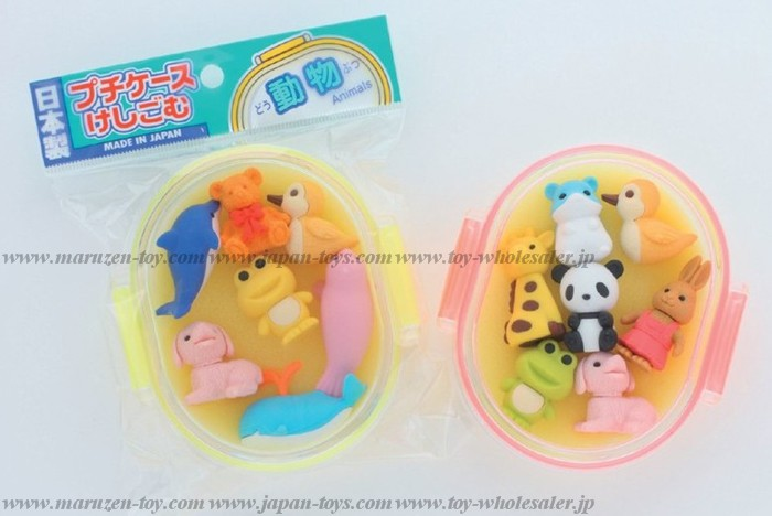 (IWAKO)(ER-PCU 003)-made in JAPAN-Erasers in Petit Case - Animal(Colors/Designes/Assortments may changed without Notice)